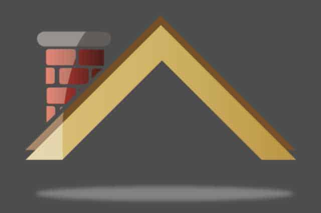 Drawn image depicting a roof frame and chimney