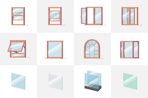 Illustration of various window styles and glass types.