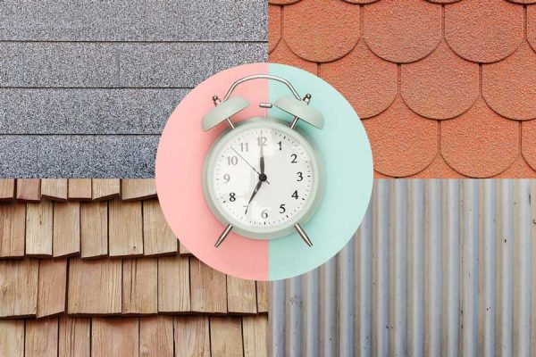 A clock on top of 4 types of roof materials