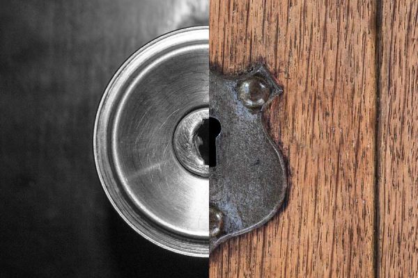 Steel and Wood doors contrasted against each other