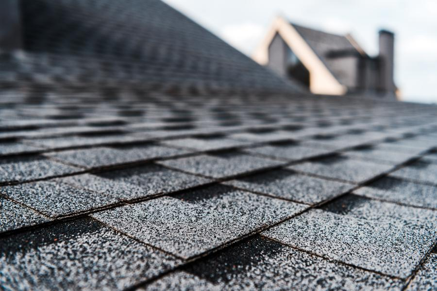 Grey roof shingles