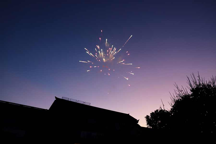 Fireworks over a residential roof