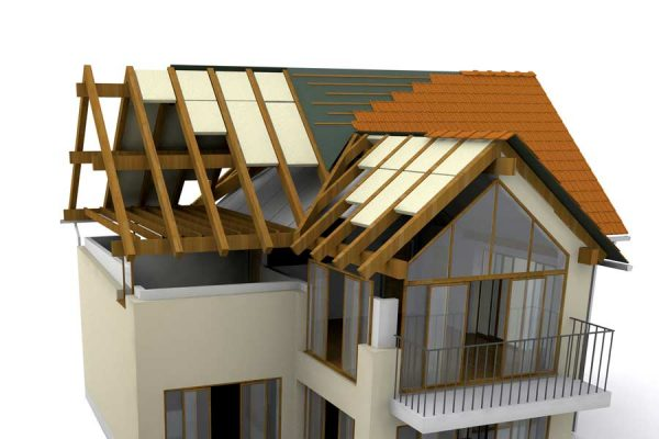 Illustration of the components of a residential roofing system