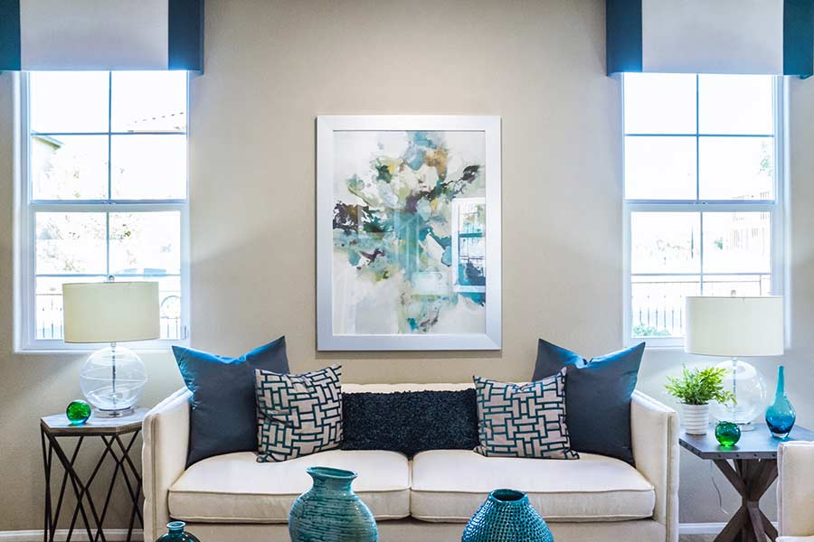 A color-coordinated home interior with matching window frames