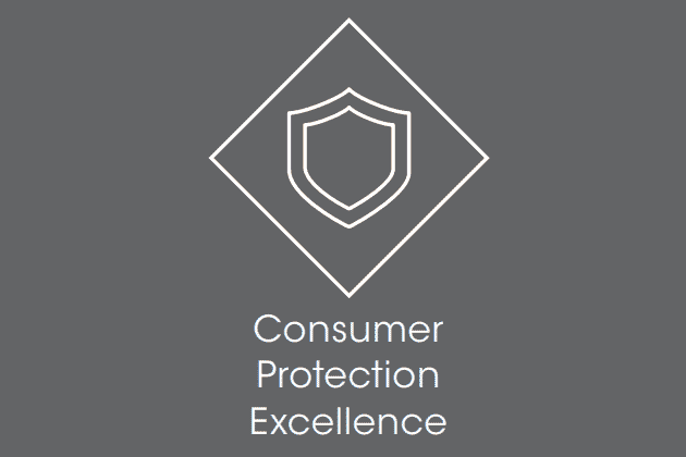 "Icon of a shield with the text ""Consumer Protection Excellence"""