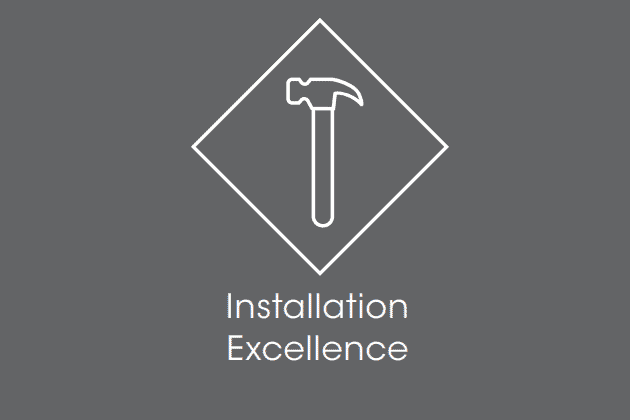 "Icon of a hammer with the text ""Installation Excellence"""