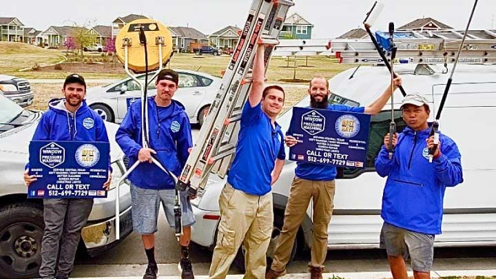 Group photo of San Marcos Window and Pressure Washing team