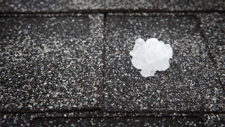 hail stone on a roof top