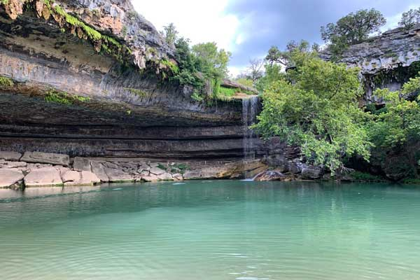 Waterfall in a natural area in Austin TX