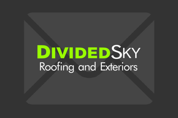 Divided Sky Roofing and Exteriors logo on an envelope background