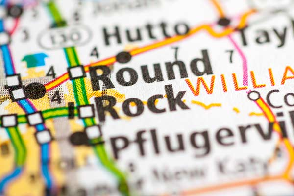 Close up of Round Rock marked on a paper map