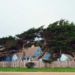 Suburban homes in a strong wind storm