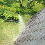 A professional roofer cleaning the black streaks of algae off a roof with a sprayer.